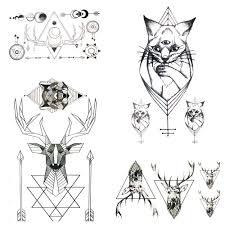 летний стиль геометрические лося кошки стрела временные татуировки