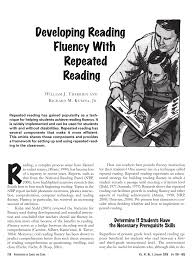 Pdf Developing Reading Fluency With Repeated Reading