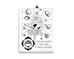 Derde Oog Chakra Kleuren Poster Chakra Bevestiging Kleurplaat Etsy