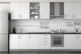 Modern White Kitchen Modern White Kitchen Designed With Gray Glass Backsplash Tile Also