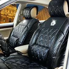 car seats pink and black car seats cover sets automobile diamond rhinestone crown cushion four