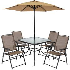 best choice s 6 piece outdoor folding patio dining set w table 4 chairs umbrella and built in base tan com