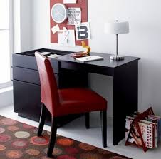 office desk for small spaces. Contemporary Office Black Small Office Desk With Red Chair For Room To Spaces