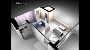 Room HDB Flat Corner  Studio Apartment SA Model D Render - Studio apartment floor plans 3d