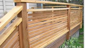 exterior wood railing. horizontal wood 1x2 slat privacy handrail exterior railing r