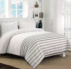 nicole miller home 3pc full queen seerer duvet cover and shams set modern stripes lends nautical style peach pink sorbet grey white gray ruched