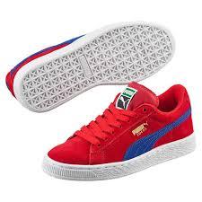 puma shoes for girls blue. puma girls shoes suede jr sneakers barbados cherry-mazarine blue i66i8971, for
