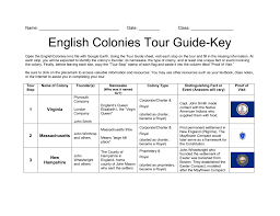 Name Date ______ Class English Colonies Tour Guide