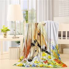 Horse Design Throw Blanket Horse And Foal Print Design Flannel Throw Blanket Lightweight Cozy Bed Sofa Blankets Super Soft Fabric Throw Blanket Holder Grey And Yellow Blanket