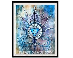 original yoga painting omwoman yoga meditate. Third Eye Chakra Print - Yoga Art Lotus Painting Shanti Spiritual Original Omwoman Meditate D