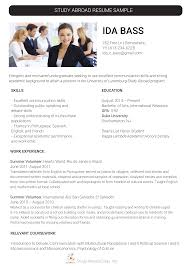 Study Abroad Resume Sample Pin By Study Abroad Samples On Study Abroad Resume Sample Study