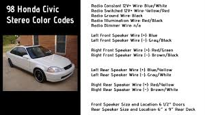 Honda Civic Speaker Size Chart 1998 Honda Civic Stereo Wiring Color Codes 6th Generation Honda Civic