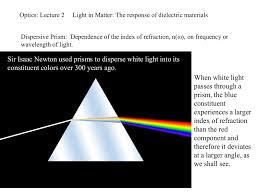 Optics Lecture 2 Light In Matter Dispersive Prism