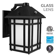 led outdoor wall lantern with dusk to dawn photocell 14w 60w equiv glass lens energy star etl listed exterior wall mount lighting fixture