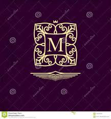 Elegant Outline Monogram With Letter M Design Templat For