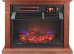 large room electric quartz infrared fireplace heater deluxe mantel oak walnut