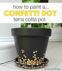 how to paint a confetti dot pot via uncommon designs a perfect craft project to do with the kids for a fun outdoor diy