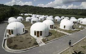 A view of about 70 dome houses, which were built by U.S.-based Domes for  the World, for villagers who lost their houses to an earthquake in  Sumberharjo ...