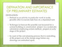 How To Prepare An Estimate Preliminary Estimate