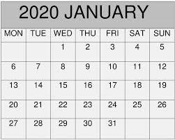 November 2020 Calendar Printables Pdf January 2020 Calendar Excel Pdf Template Free Latest