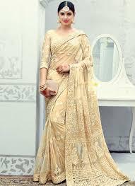 Cutdana Work Saree Designs Beige Embroidery Cut Dana Work Net Designer Fancy Wedding