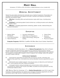 Medical Receptionist Resume Skills Objective Examples Summary
