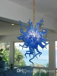 modern indoor led lighting chandelier small size blue color hot decorations chihuly style hand blown glass crystal chandelier light industrial pendant