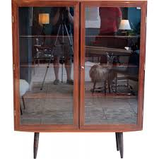 scandinavian rosewood cabinet with glass doors 1950s