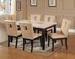 Marble Top Kitchen Table Set Acme 17058 Britney 7pcs Marble Dining Set Walnut