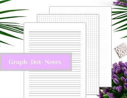 Graph Paper Note Paper Dot Grid Printable Pdf Instant