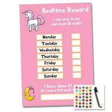 Bedtime Reward Chart Unicorn Bedtime Nightime Reward Chart Kids Child Sticker Star Sleep Own Bed Ebay