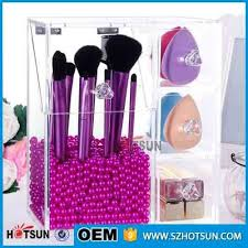 acrylic makeup brush holder with lid acrylic brush organizer brush display stand with 3 drawers
