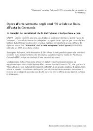 """Maternità"""" rubata a Calco nel 1975, ritrovata dai carabinieri in Germania"""