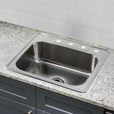soleil 25 x 22 stainless steel drop in single bowl kitchen sink with regard to white