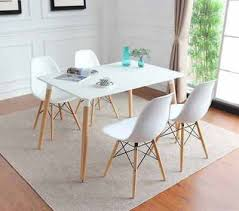 retro wood dining table and 4 white dining chairs set home furniture