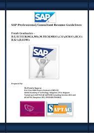 SAP Professional/Consultant Resume GuidelinesFresh Graduates  B.E/B.TECH,MCA, ...