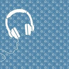 Behangpapier Muziek Met Gitaar En Koptelefoon Blauw Decovrycom