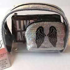 silver shiny glitter nwt victoria 39 s secret nwt fashion show makeup cosmetic bag set trio