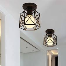vintage led square metal cage ceiling light square pendant lamp lighting intl