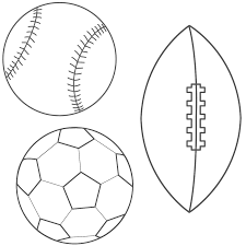 Small Picture Baseball Soccer Ball and Football Coloring Page Sports