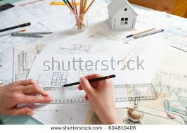 interior design hand drawings. Interior Designer Working On Color Hand Drawings Of A Kitchen At Work Place. Photo Design