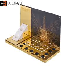 luxurious gold mirror acrylic counter top cosmetic display stand holder