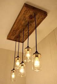 mason jar chandelier lighting 1 rustic wood rectangular metal and