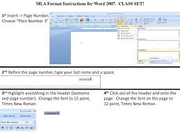 Mla Format Instructions For Word Class Set Ppt Download