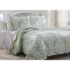 King size Sage Green and White Floral Quilt Set with 2 Pillow ... & King size Sage Green and White Floral Quilt Set with 2 Pillow Shams Adamdwight.com