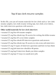 Top 8 law clerk resume samples In this file, you can ref resume materials  for ...