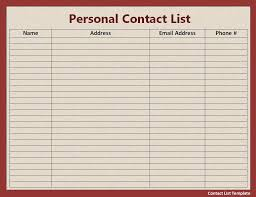 Personal Contact Template Contact List Template Free Printable Ms Word Format