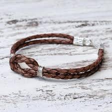 thai hill tribe silver accent dark brown leather bracelet square knot in espresso