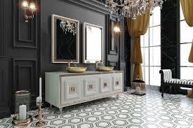 Casa Padrino Luxus Badezimmer Set Weiß Bronze Gold 1