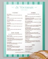 A Modern French Menu With A Stripe Design In Two Neat Shades Of Teal